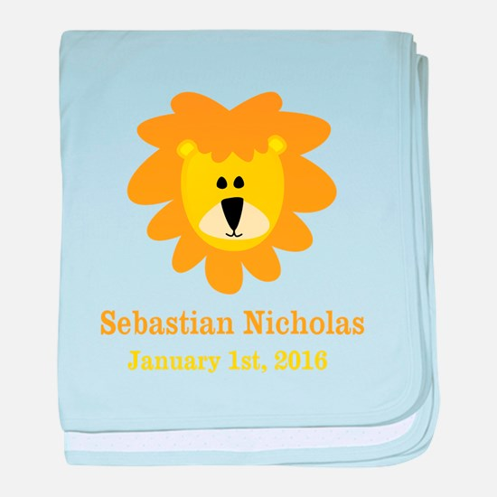 CUSTOM Lion w/Baby Name and Birth Date baby blanke