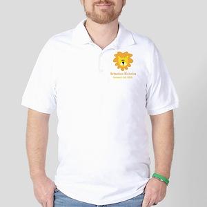 CUSTOM Lion w/Baby Name and Birth Date Golf Shirt