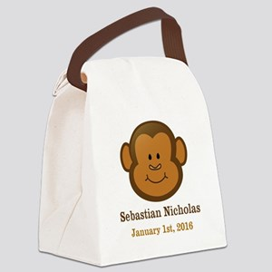 CUSTOM Monkey w/Baby Name and Birthdate Canvas Lun