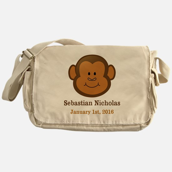 CUSTOM Monkey w/Baby Name and Birthdate Messenger