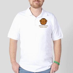 CUSTOM Monkey w/Baby Name and Birthdate Golf Shirt