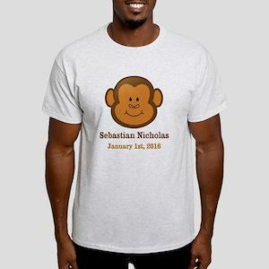 CUSTOM Monkey w/Baby Name and Birthdate T-Shirt