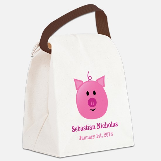 CUSTOM Pig w/Baby Name and Birthdate Canvas Lunch