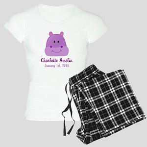 CUSTOM Hippo w/Baby Name and Birthdate Pajamas