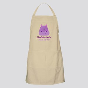 CUSTOM Hippo w/Baby Name and Birthdate Apron