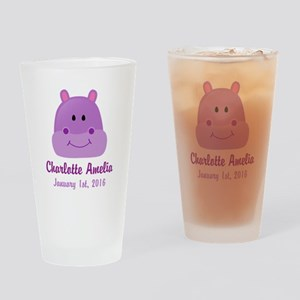 CUSTOM Hippo w/Baby Name and Birthdate Drinking Gl
