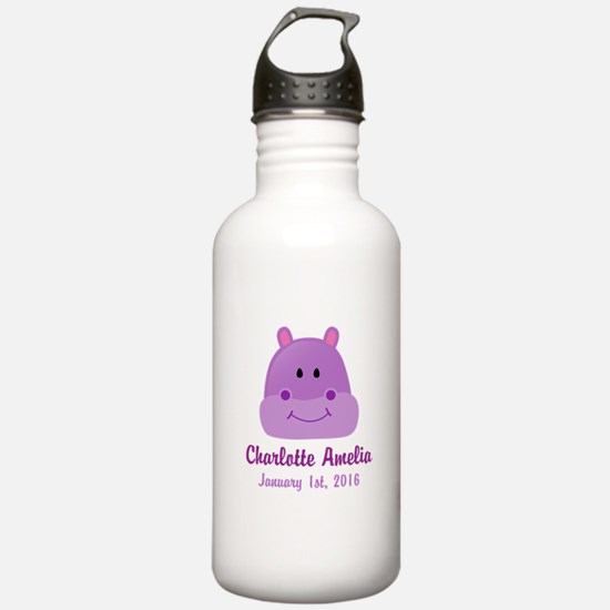 CUSTOM Hippo w/Baby Name and Birthdate Water Bottl
