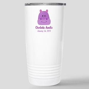 CUSTOM Hippo w/Baby Name and Birthdate Travel Mug