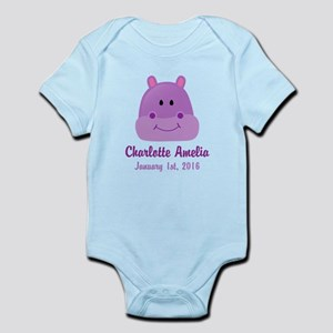 CUSTOM Hippo w/Baby Name and Birthdate Body Suit