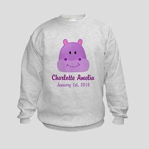 CUSTOM Hippo w/Baby Name and Birthdate Sweatshirt