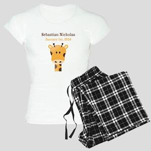 CUSTOM Giraffe w/Baby Name and Birthdate Pajamas