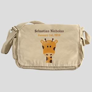CUSTOM Giraffe w/Baby Name and Birthdate Messenger