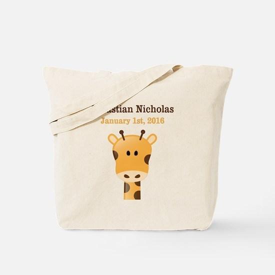 CUSTOM Giraffe w/Baby Name and Birthdate Tote Bag