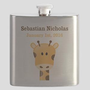 CUSTOM Giraffe w/Baby Name and Birthdate Flask