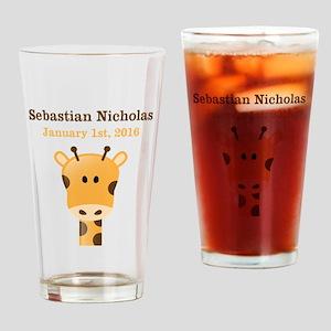 CUSTOM Giraffe w/Baby Name and Birthdate Drinking
