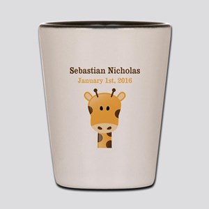 CUSTOM Giraffe w/Baby Name and Birthdate Shot Glas