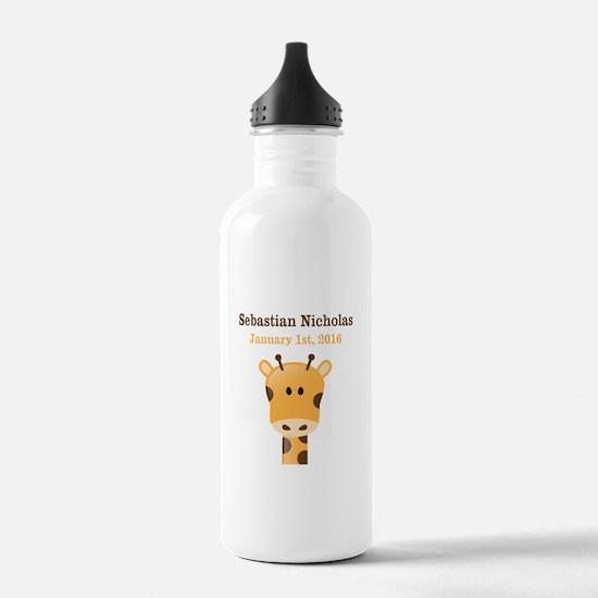CUSTOM Giraffe w/Baby Name and Birthdate Water Bot
