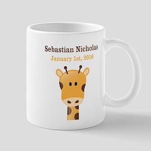 CUSTOM Giraffe w/Baby Name and Birthdate Mugs