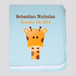 CUSTOM Giraffe w/Baby Name and Birthdate baby blan