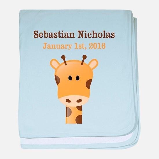 CUSTOM Giraffe w/Baby Name and Birthdate baby blan