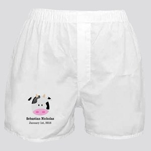 CUSTOM Cow w/Baby Name and Birthdate Boxer Shorts