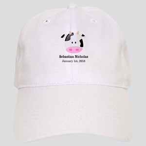 CUSTOM Cow w/Baby Name and Birthdate Baseball Cap