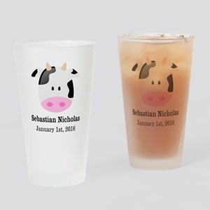 CUSTOM Cow w/Baby Name and Birthdate Drinking Glas