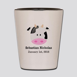 CUSTOM Cow w/Baby Name and Birthdate Shot Glass