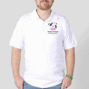 CUSTOM Cow w/Baby Name and Birthdate Golf Shirt