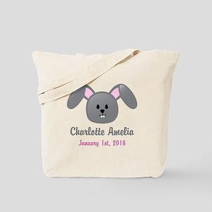 CUSTOM Bunny w/Baby Name and Birthdate Tote Bag
