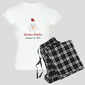 CUSTOM Chicken w/Baby Name and Birthdate Pajamas