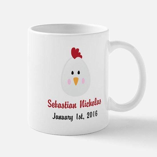 CUSTOM Chicken w/Baby Name and Birthdate Mugs