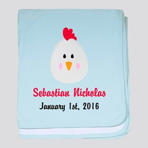 CUSTOM Chicken w/Baby Name and Birthdate baby blan