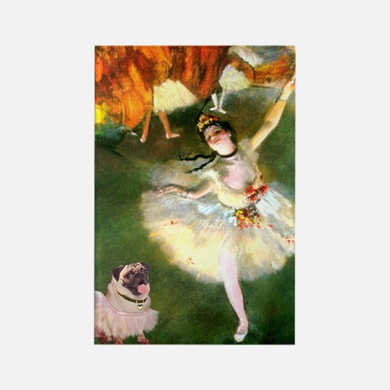 Dancer 1 & fawn Pug Rectangle Magnet