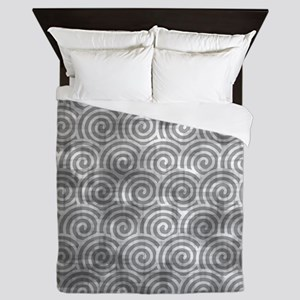 Vintage Grey Swirls Queen Duvet