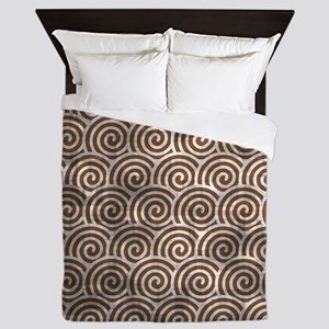 Vintage Brown Swirls Queen Duvet