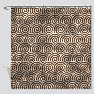Vintage Brown Swirls Shower Curtain