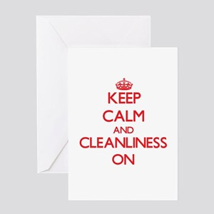 Keep Calm and Cleanliness ON Greeting Cards