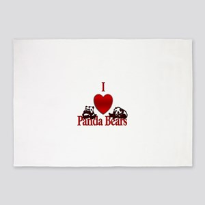 I Heart Panda Bears 5'x7'Area Rug