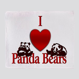 I Heart Panda Bears Throw Blanket