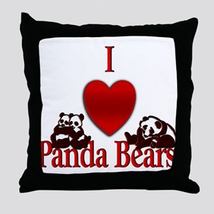 I Heart Panda Bears Throw Pillow