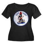 USS HUNT Women's Plus Size Scoop Neck Dark T-Shirt