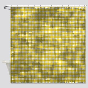 Vintage Yellow Gingham Pattern Shower Curtain
