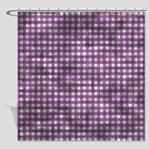 Vintage Purple Gingham Pattern Shower Curtain