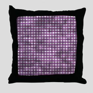 Vintage Purple Gingham Pattern Throw Pillow