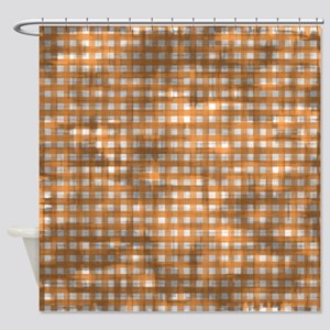 Vintage Orange Gingham Pattern Shower Curtain