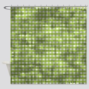 Vintage Green Gingham Pattern Shower Curtain