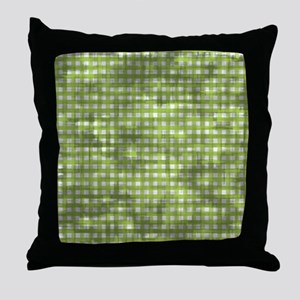Vintage Green Gingham Pattern Throw Pillow