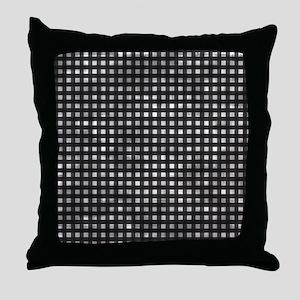 Vintage Black Gingham Pattern Throw Pillow