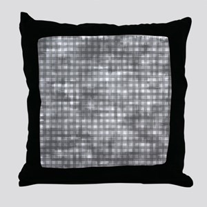 Vintage Grey Gingham Pattern Throw Pillow